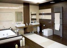 Коричневый цвет в интерьере ванной комнаты.
