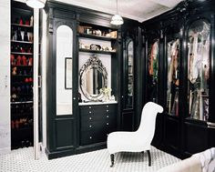 Black and white walk-in closet.