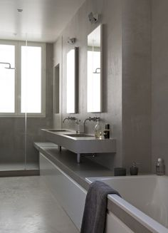 The bath level continues under the vanity and into the shower. apartment paris 7 double g interior design Apartment Projects, Apartment Interior Design, Home Design, Double G, Appartement Design, Paris Apartments, Decoration, Designer, Vanity