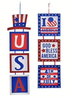 """NEW LOWER PRICE $4.73 20"""" X 5"""" Patriotic 3pc Signs Military July 4th Wreaths 2 Styles you choose NWT  