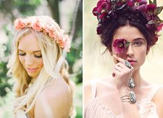 For boho weddings, flower crowns are a must! We love these two pretty, but different varieties!