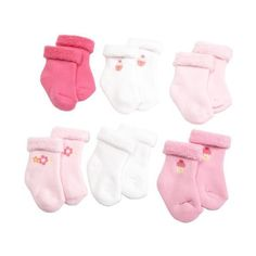 Gerber Baby-Girls Newborn 6 Pack Variety Cozy Designer Socks ❤ liked on Polyvore featuring baby, baby girl and baby socks