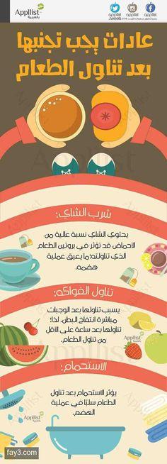 #انفوجرافيك عادات يجب تجنبها بعد تناول الطعام #صحة