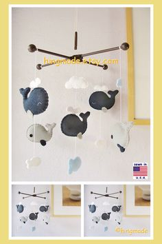 Baby Crib Mobile, Baby Mobile, Baby Boy Mobile, Whale Mobile, Whale Nursery Bedding, Navy Blue Gray White, Match Bedding Mobile by hingmade on Etsy https://www.etsy.com/listing/190427614/baby-crib-mobile-baby-mobile-baby-boy