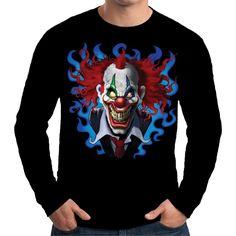 Velocitee Mens Long Sleeve T Shirt Crazy Clown Scary Joker Evil Biker A19401