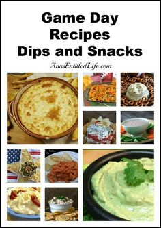 Game Day Recipes – Dips and Snacks - planning a party for the big game? Here's a list of over 20 Game Day Dips and Snacks Recipes http://www.annsentitledlife.com/recipes/game-day-recipes-dips-and-snacks/