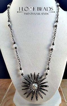 on sale - silver  Swarovski flower necklace-flower necklace- crystal flower necklace- flower necklace- gunmetal necklace- gunmetal flower