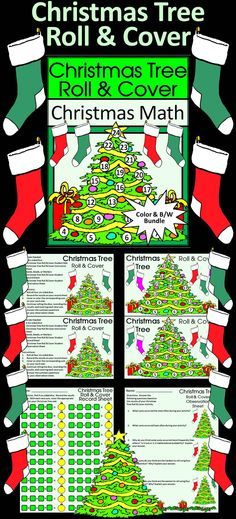 Christmas Tree Roll & Cover Math Activity:  Give your students a fun and festive way to practice addition in series in a hands-on way using 4 six-sided dice and seeds, beads, or other small items as counters.   Christmas Tree Roll & Cover Math Activity Includes: * Student Work Mat * Instruction Set * Student Record Sheet * Student Observation Sheet  #Christmas #Tree #Math #Dice #Activities #Teacherspayteachers