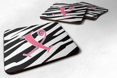 Set of 4 Monogram - Zebra Stripe and Pink Foam Coasters Initial Letter X