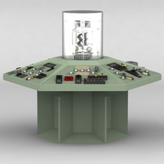 This is a model of the TARDIS console from the BBC TV show Doctor Who. This the original version of the TARDIS console as used between 1963 and 1970.