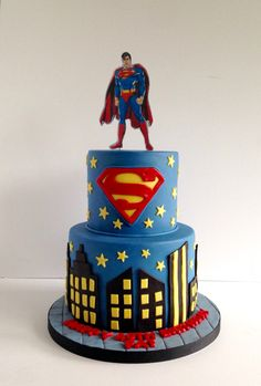 Awesome Picture of Superman Birthday Cake Superman Birthday Cake Superman. Birthday Cake Roses, Birthday Cupcakes, Bolo Super Man, Superman Cupcakes, Batman Cakes, Superman Birthday Party, 2nd Birthday, Birthday Ideas, Bolo Fack