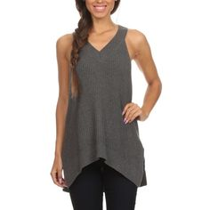 """Sleeveless Ribbed Knit Top Charcoal Grey Sleeveless Ribbed Knit Top. Side slit seams and an asymmetrical hem. 100% Cotton. Brand new with tags!  ✨Use the """"Buy Now"""" or """"Add to Bundle"""" Button to select your size for Purchasing✨ Boutique Tops"""