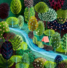 Cut paper adds a subtle dimensionality to illustration. Check out 10 stunning examples of cut paper illustration to put you in tune with nature. Painting Inspiration, Art Inspo, Posca Art, Guache, Naive Art, Art Plastique, Painting & Drawing, Landscape Paintings, Landscape Art