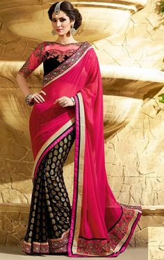 Picture of Fashionable Black and Pink Color Majesty Saree