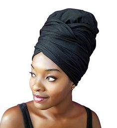 Stretch Head Wrap-Solid Color Jersey Knit Headwrap Turban...