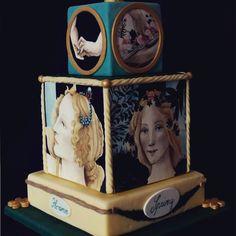 Silvia Riboldi, #Botticelli Cake: La Primavera e le tre Grazie di Botticelli rappresentate estrapolando dal dipinto solo i visi e le mani. Interamente dipinta a mano.  Silver at #cakeinternational 2015 Birmingham   #cakedesign #arte