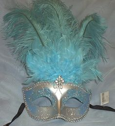 Light Blue Silver Venetian Feather Masquerade Mask aqua. one of the girls would adore this