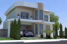 Planta de casa pequena e moderna Modern House Facades, Modern House Plans, Modern House Design, Double Story House, House Plans Mansion, Indian House Plans, Beautiful House Plans, Art Deco Home, Dream House Exterior