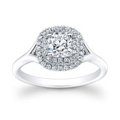 18k Gold 5/8ct TDW Diamond Cushion Halo Ring