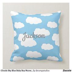 Baby Nursery Decor, Baby Boy Nurseries, Custom Pillows, Baby Blue, Your Design, Clouds, Throw Pillows, Fabric, Kids