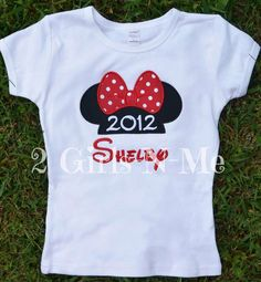 Personalized Minnie Ears Appliqued Shirt by 2girlsnme on Etsy, $15.00