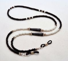 Eyeglass Chain Beaded Glasses Lanyard Black and by SoCalStudio