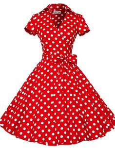 Women's Retro 50s Shirt Collar Polka Dot Swing Party Dress 4406014 2016 – $19.99
