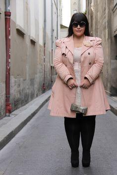 Pink Coat Plus Size