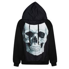 Black Womens Cool Skull Printed Halloween Hoodie (48 NZD) ❤ liked on Polyvore featuring tops, hoodies, shirts, black, black skull hoodie, sweatshirts hoodies, hooded pullover, skull shirt and shirt hoodies