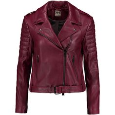 Haute Hippie Leather biker jacket (7.845 ARS) ❤ liked on Polyvore featuring outerwear, jackets, leather jacket, coats, casacos, red, biker jackets, red jacket, leather moto jackets and quilted jacket