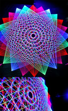 Flower of Life String art, festival decor, UV active, decor with meaning, psychedelic, Psytrance festival. Taken at Easter Vortex Steps to the Stars V2.0 in 2011 at the Circle of Dreams, Cape Town South Africa