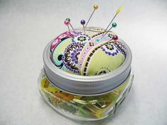 Canning Jar Pincushion.  This could be a project for some of you Apron Fairies when you are finished with your aprons.(tee hee).