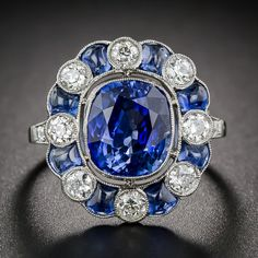 4.75 Carat Sapphire and Diamond Art Deco Style Ring - 30-1-1697 - Lang Antiques