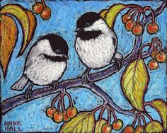Chickadees 8x10 Archival Print of Original Oil Pastel Painting by AndeHallFineArt, $16.00