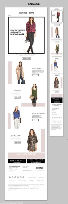Nordstrom | Nordstrom provides a guide on what to wear for fall in a fun format with an animated block showing different fall outfits. Click through the link to see all of the pieces in the email available at Nordstrom! This is a good example of animation used in an email the RIGHT way! | Kait Buck, Marketing Specialist
