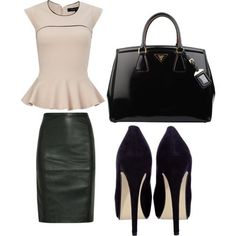 Trendy chic work outfit with peplum top, leather pencil skirt, leather tote and pumps. (via Business Revamp cute business clothes, inspires me to be successful Fashion Days, Work Fashion, Autumn Fashion, Fashion Outfits, Womens Fashion, Fashion Trends, Fashion Purses, Young Fashion, Elegantes Outfit