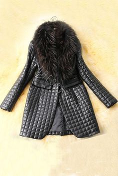 Black Faux Fur Collar Stylish Long PU Jacket