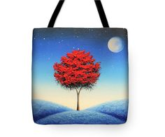 Whimsical Tote Bag Library Book Bag Red Tree Purse by BingArt