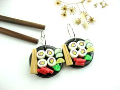Hey, I found this really awesome Etsy listing at https://www.etsy.com/listing/80282476/black-disk-sushi-earrings