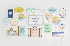 Travel Party Photo Booth Props Printable   INSTANT DOWNLOAD