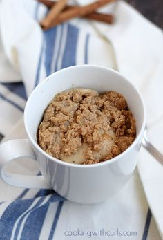 This delicious Coffee Cake in a Mug topped with streusel topping is perfect serving size for one, and is ready in minutes! A delicious Coffee Cake in a Mug topped with streusel and ready to eat in minutes! Mug Recipes, Cake Recipes, Dessert Recipes, Cooking Recipes, Healthy Desserts, Healthy Food, Snack Recipes, Healthy Eating, Cupcakes