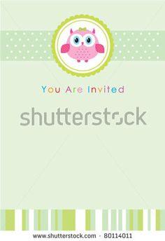 stock vector : owl baby invitation card