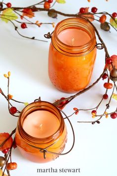 Ring in autumn with the season's most popular flavor (and scent), pumpkin. Pumpkin spice candles are easy to make and using only a handful of materials, you'll love making your own candles. #marthastewart #crafts #diyideas #easycrafts #tutorials #hobby Fairy Lights In A Jar, Jar Lights, Jar Crafts, Decor Crafts, Pumpkin Spice Candle, Pumpkin Pumpkin, Recycled Jars, Fall Scents, Homemade Candles