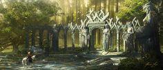 ArtStation Elven Warrior Ruins Javier Lazo Fantasy concept art Fantasy art landscapes Fantasy landscape