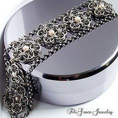 chainmaille lace bracelet with pearls by FiliGrace Jewelry, via Flickr