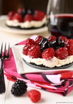 Mascarpone tarts with fresh berries and an Oreo crust. So stunning, they are the perfect ending to a great meal.