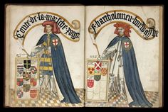 William Bruges's Garter Book, 1430-1440, Earl of March and Burghersh.