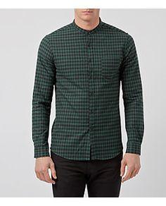 Green and Black Check Grandad Collar Long Sleeve Shirt    New Look