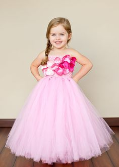 Posey Flower Girl Tutu Dress with Liner and Customizable Blossoms