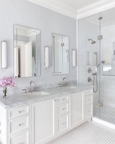 Double Bathroom Vanity Designs Ideas - Have you considered a double sink bathroom vanity? Below is ideal 10 awesome and also innovative double sink vanity designs ideas and images of shower rooms with double sinks. Serene Bathroom, Timeless Bathroom, White Master Bathroom, Double Sink Bathroom, Small Bathroom, Double Sinks, White Bathrooms, Dream Bathrooms, Lilac Bathroom